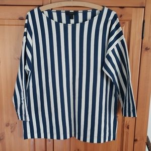 J. Crew blue and white striped top - medium